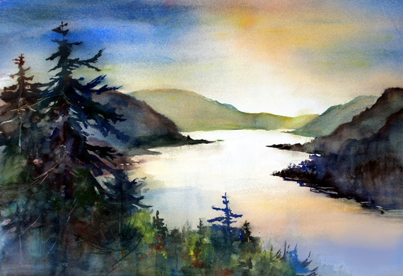 Columbia Gorge 366 - signed print of a watercolor of the Columbia Gorge by bonnie white