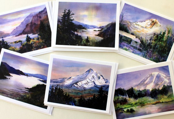 Note cards - Columbia Gorge Purple - blank cards - Bonnie White gorge cards - blank note cards - Columbia Gorge National Scenic Area