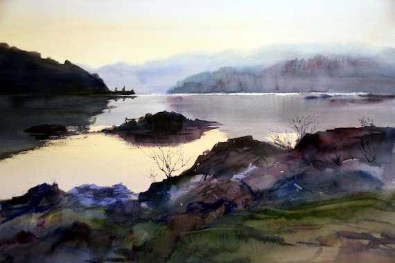 Lyle Point - signed print of Lyle Point in the Columbia River Gorge by Bonnie White Watercolor