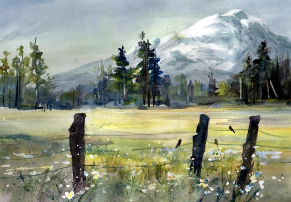 Mt. Adams 79 - a signed Mt. Adams print by Columbia Gorge watercolor artist Bonnie White
