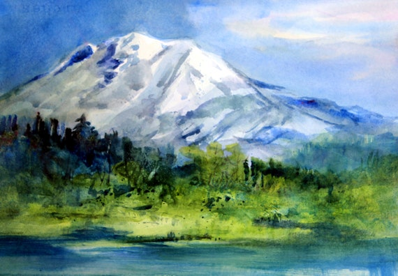 Mt. Adams 82 a print of Mt. Adams from a watercolor by Bonnie White