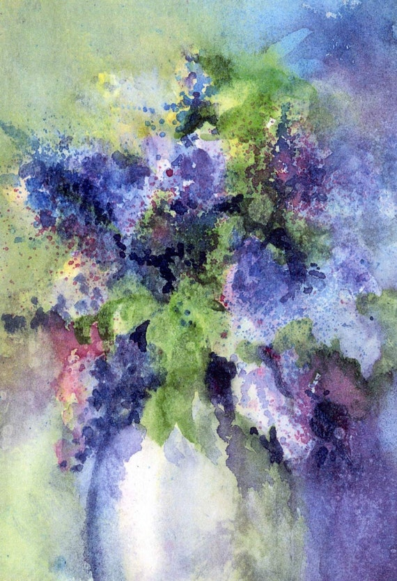 Purple Lilacs - signed lilac floral print - Bonnie White - gorge art - watercolor paintings