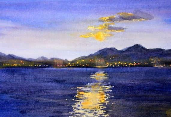 Moon over Hood River original watercolor painting by Bonnie White 10.5x7 inches