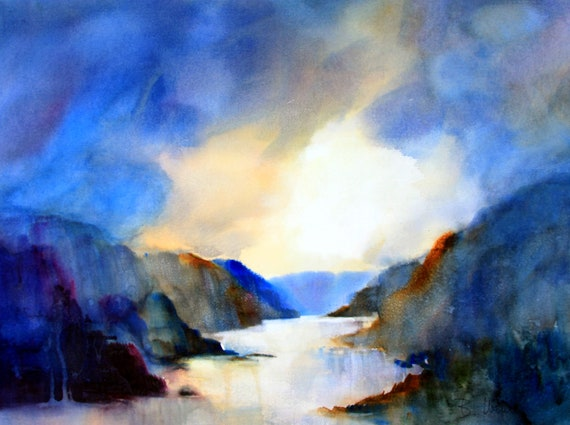 Columbia Gorge 102 - signed print of the Columbia River Gorge by Bonnie White watercolor artist
