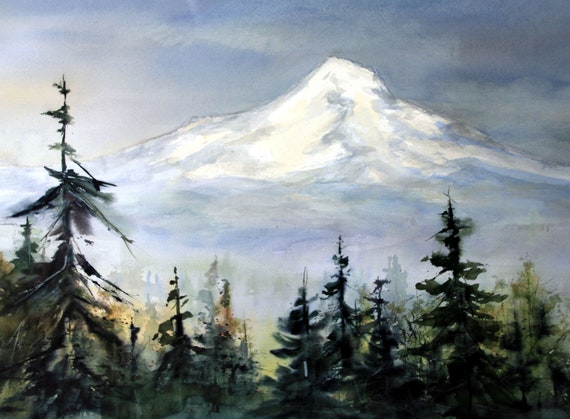signed print of Mt. Hood from Portland from an original watercolor by Bonnie White Mt. Hood 290
