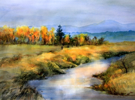Conboy Wildlife Refuge 3 - signed print of landscape wetlands watercolor by Bonnie White