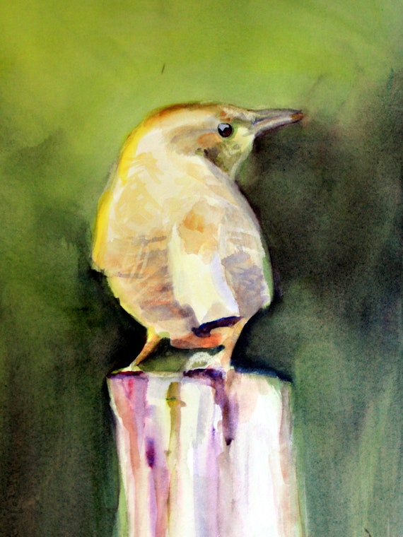 House wren signed print of a watercolor by Bonnie White watercolor artist