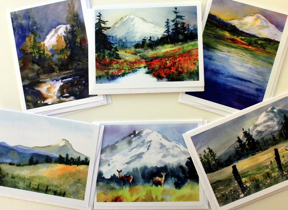 Mount Adams Red - blank note cards - Bonnie White artist - Columbia Gorge artist - gorge art - scenic note cards - Gorge note cards