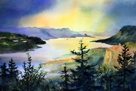 Columbia Gorge 287 - signed watercolor print - Bonnie White - Columbia Gorge - National Scenic Area - watercolor paintings