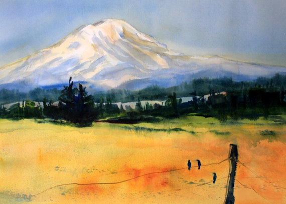 Mt. Adams 83 a print of Mt. Adams from a watercolor by Bonnie White