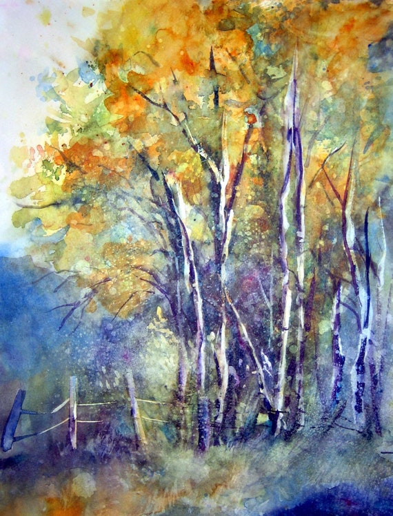 Aspen grove in fall a signed print of a watercolor by Bonnie White Aspen Grove 4