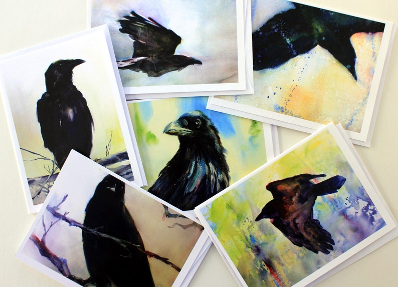 Raven blank note cards by Bonnie White