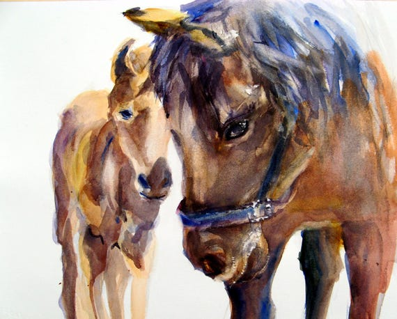 Doris and Roc - mare - colt - horse - signed print - watercolor - bonnie white - Columbia Gorge Artist