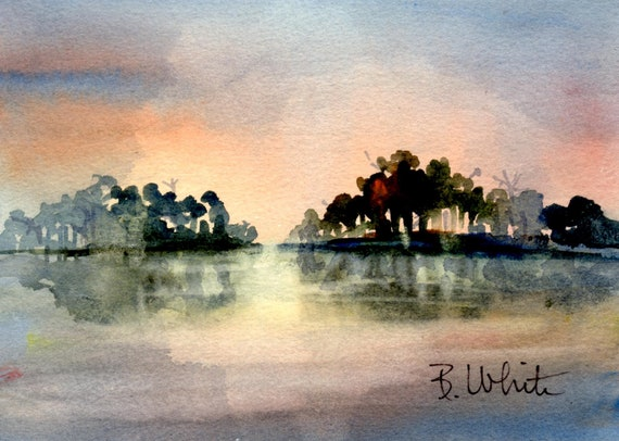 Reflection #16 - original watercolor painting by Columbia Gorge Artist Bonnie White - original watercolor - sky and water