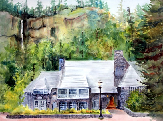 Multnomah Falls Lodge a print of a watercolor by Bonnie White
