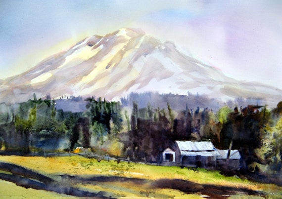 Mt. Adams from Husum a print of Mt. Adams from a watercolor by Bonnie White