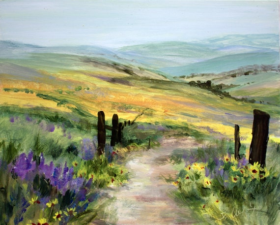The Dalles Mountain Ranch above Horsethief State Park in the Columbia River Gorge - Acrylic on Gessobord #201220