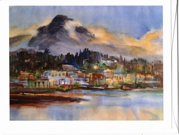 Hood River from the Columbia blank note cards with envelopes 4.25x5 inches