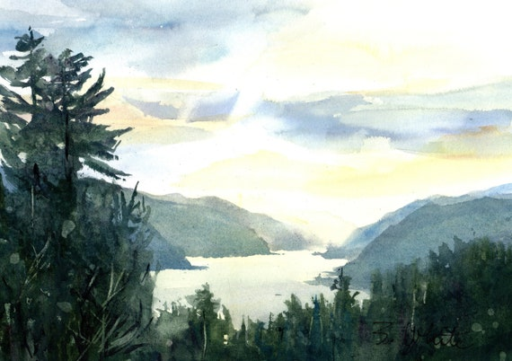 original Columbia River Gorge watercolor painting by Bonnie White - 7 x 10.5 (will mat to 11x14 or larger)