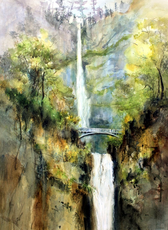 Multnomah Falls 14 print of a watercolor done by Bonnie White