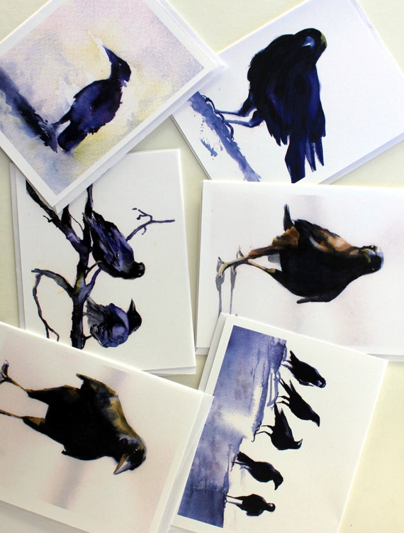 Crows 1 - note cards - greeting cards - Bonnie White - assorted card packs - crows - ravens - birds - Columbia Gorge artist - Hood River