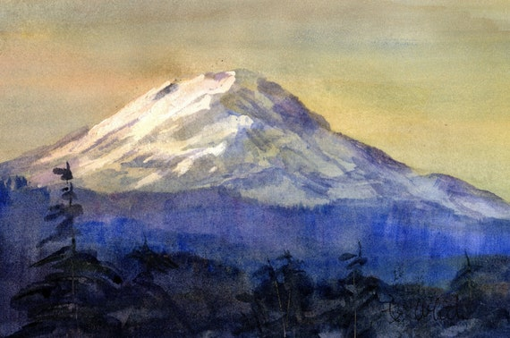 Mt. Adams original watercolor by Bonnie White - 7 x 10.5 inches - if matted would frame to 11x14 or larger