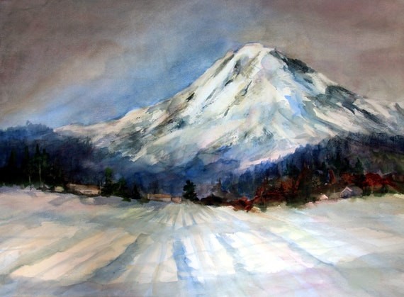 Mt. Adams in Snow a print of Mt. Adams from a watercolor by Bonnie White