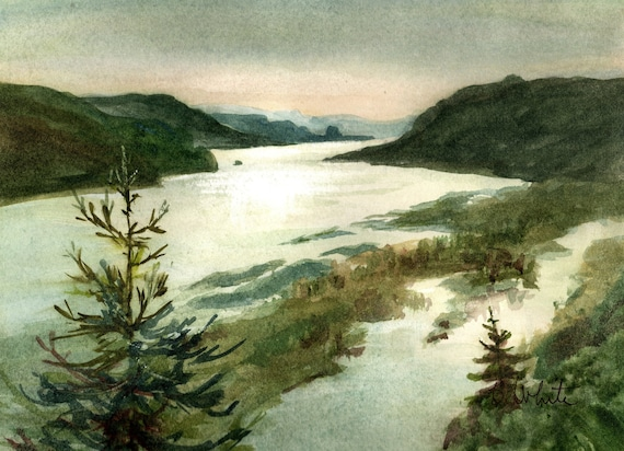 Columbia Gorge original watercolor - 8 x 10.5 - from the Vista House by Bonnie White