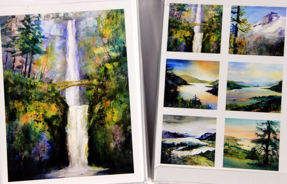 Multnomah Falls 10 card pack includes Multnomah Falls, the Columbia River Gorge and Mt Hood