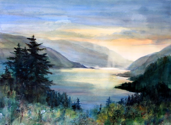 signed watercolor print of the Columbia Gorge from Hood River by bonnie white columbia gorge 370