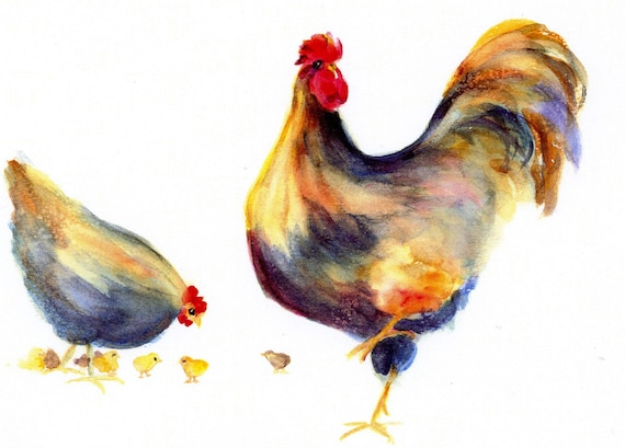 Kathy's Flock - a signed print of chickens by Bonnie White