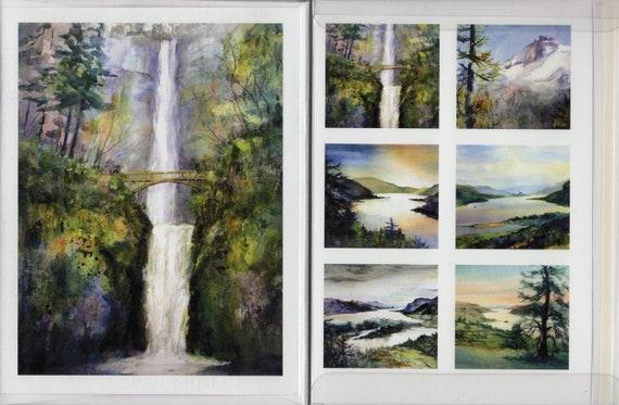 Multnomah Falls 10 card pack includes Multnomah Falls, the Columbia River Gorge and Mt Hood