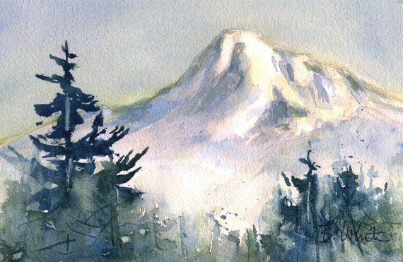 Mt. Hood watercolor original by Bonnie White - 6.5 x 10 matted to 11x14