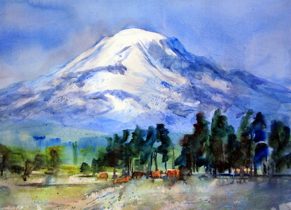 Mt. Adams 47 signed print of a watercolor by bonnie white