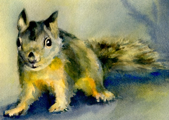 A Douglas Squirrel signed print from an original watercolor by Bonnie White Red Squirrel
