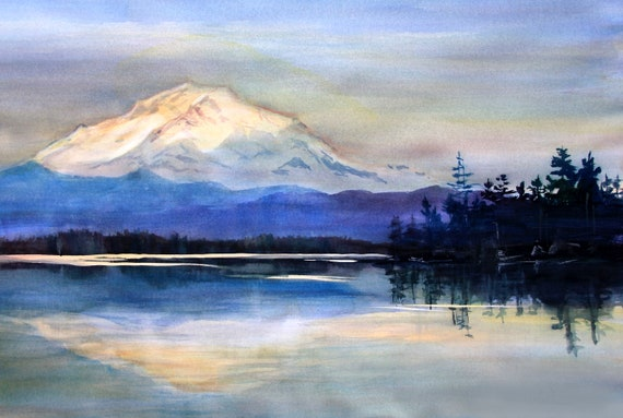 signed Mt. Rainier landscape print of a watercolor done by Bonnie White