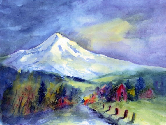 Mt. Hood the Community signed print of a watercolor by Bonnie White