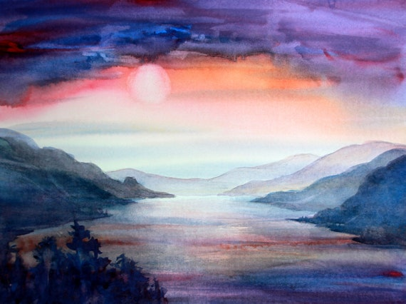 Solstice - signed watercolor print of the moon over the Columbia Gorge