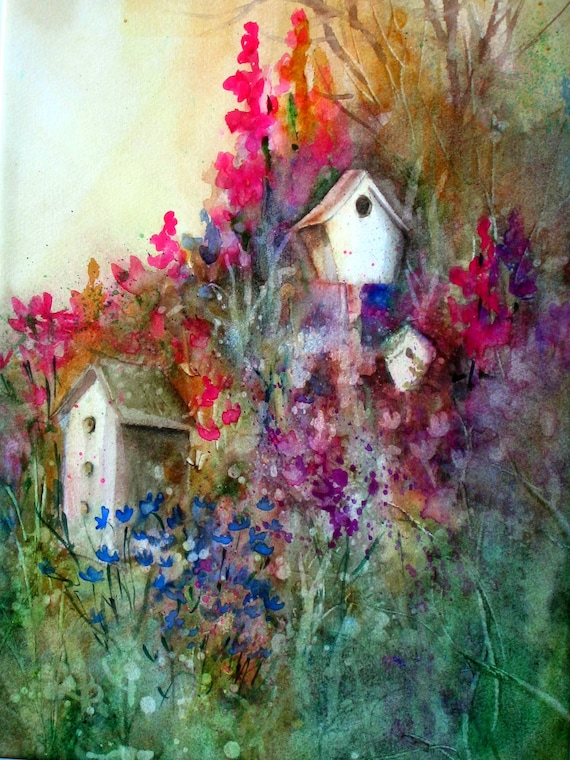floral print with bird houses For the Birds from a watercolor original by bonnie white