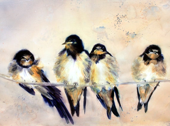 Barn Swallows signed print by Bonnie White