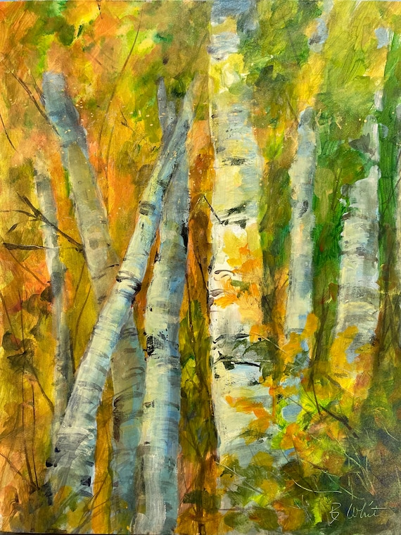 Aspen Grove acrylic painting by Bonnie White