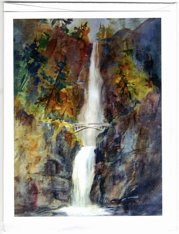Multnomah Falls 2 blank note cards with envelopes 4.25x5 inches