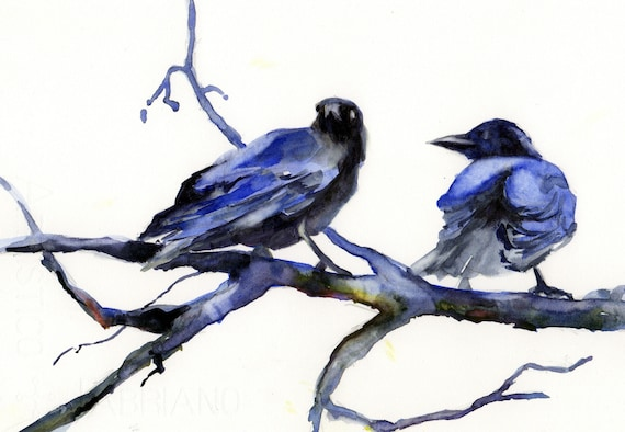 Crow Speculation is a signed print of a watercolor by Bonnie White
