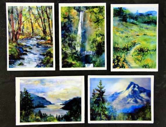 refrigerator magnets, Columbia Gorge Magnets #6 - Bonnie White watercolor magnets - 5 2 1/2 x 3 1/2 signed magnets