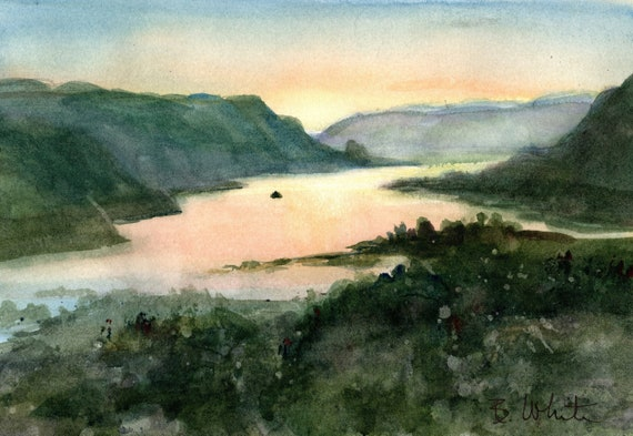 Columbia Gorge original watercolor painting by Bonnie White  7x10 from the Vista House along the Columbia Gorge Scenic Highway