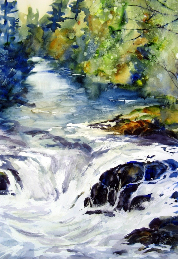 Husum Falls 2 - signed Husum Falls watercolor print - Bonnie White - Columbia Gorge