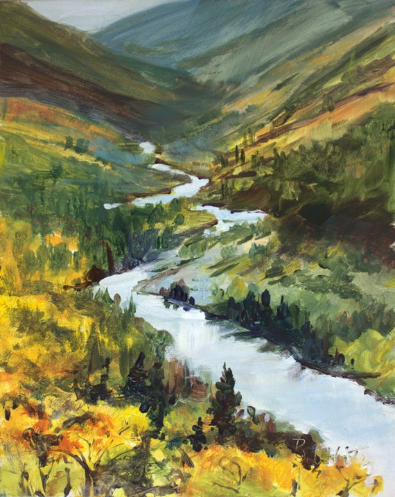 Klickitat River Canyon from Glenwood Highway - acrylic painting by Bonnie White #201222