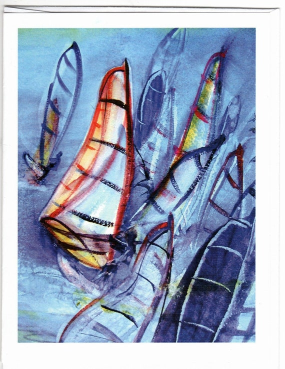 Wind in the Gorge note cards - windsurfing blank note cards