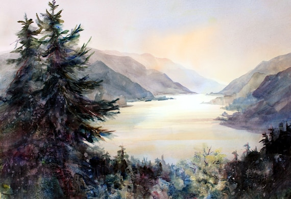 Columbia Gorge 234 - signed print of a watercolor of the Columbia Gorge