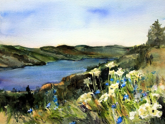 signed print by of a watercolor done by Bonnie White Columbia Gorge 398
